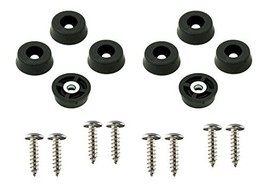 8 Small Round Rubber Feet Bumpers W/Screws - .250 H X .671 D - Made in USA