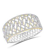 14kt Two-tone Gold Womens Round Diamond Cocktail Bangle Bracelet 4-5/8 Cttw - £5,364.57 GBP