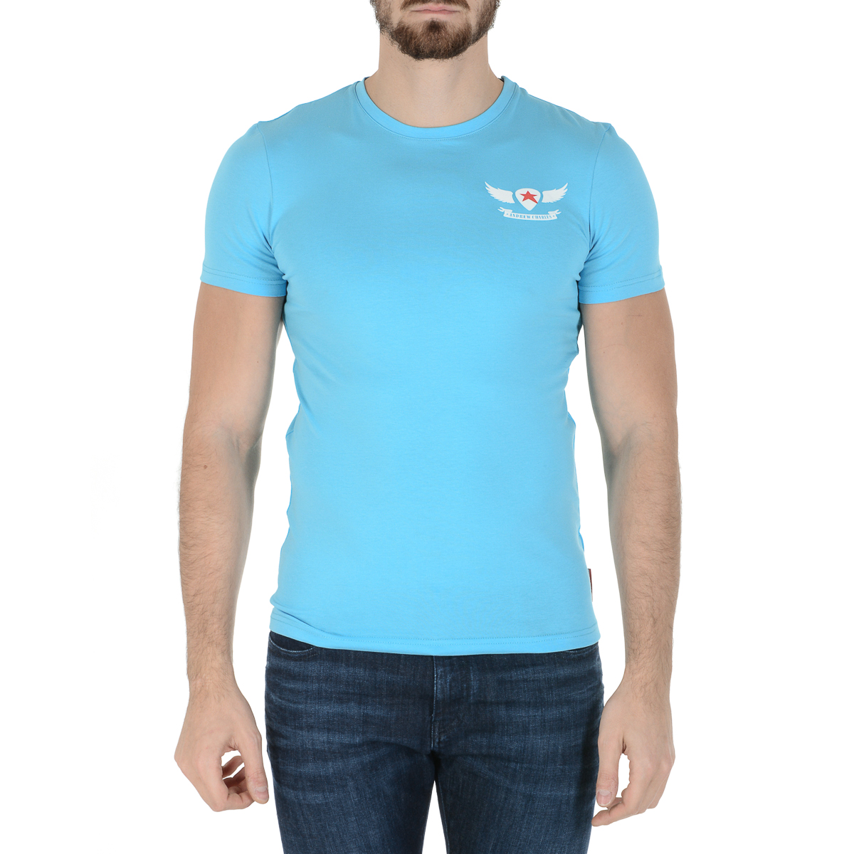 Primary image for Andrew Charles Mens T-Shirt Short Sleeves Round Neck Light Blue KEITA