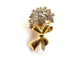 Goldtone Crystal Bouquet Pin Brooch - $10.95