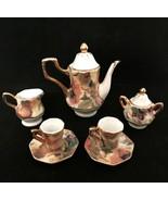 Vintage Victorian Doll Tea Set Porcelain Floral Gold Detail Mini Teapot ... - $23.76