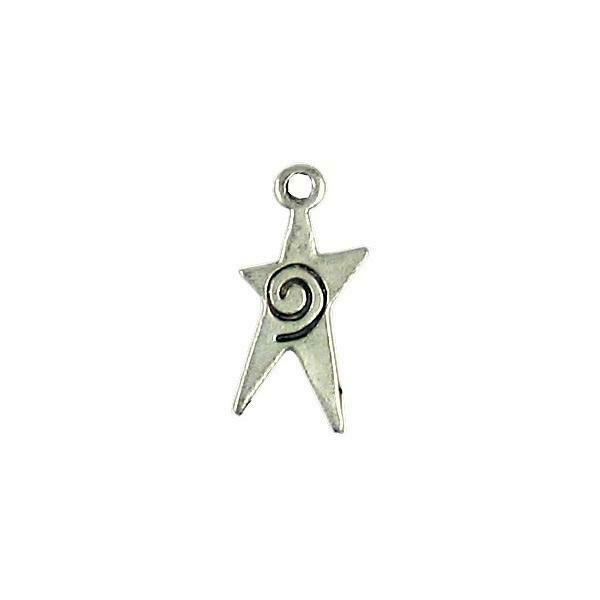 STAR WITH SWIRL FINE PEWTER PENDANT CHARM - 22mm x 11mm x 1.5mm
