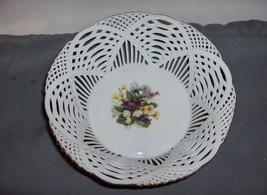Vintage  Porcelain Lace Basket Bowl Reticulated Flowers Glausenburg - $44.55