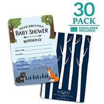 Baby Shower Invitations. 30 cards + envelopes. Shower Games. Boy. Woodland - $10.44