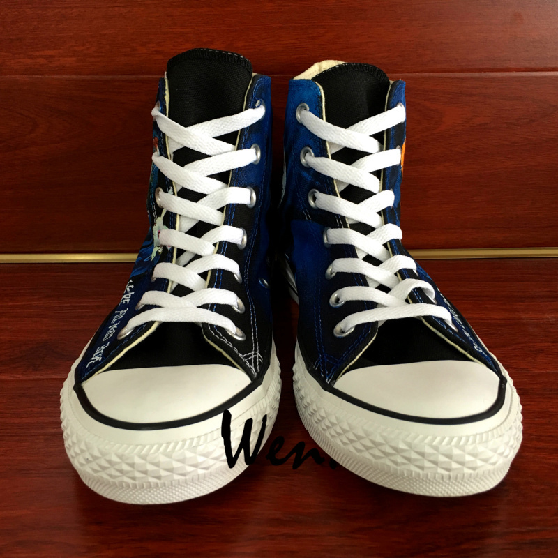 Converse All Star Alice in Wonderland Cheshire Cat Design Hand Painted Shoes
