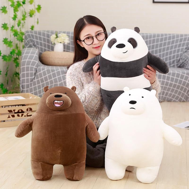 We Bare Bears Sitting Dolls Plush Toy Grizzly Panda Ice Bear Collection image 1