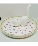 Pink Hearts Stretching White Cat Figure Plate Dish Ceramic Coin Jewelry ... - $10.99