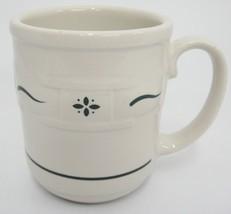 Longaberger Green Woven Traditions One Mug Pottery 12 Ounce USA Nice - $12.86