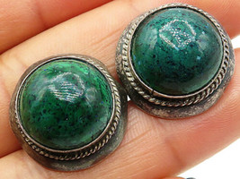 925 Sterling Silver - Vintage Round Dome Green Malachite Cuff Links - T1329 - $48.72