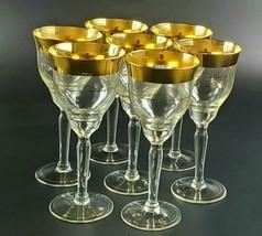 Vintage Dorothy Thorpe Set of 7 Wine Glasses with Gold Band  - $280.00