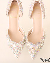 Women Ivory White Swarovski AB Crystal Wedding Shoe,Bridal Heel Shoes US 6,7,8 - $88.00