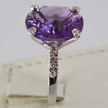 18K WHITE GOLD RING DIAMONDS ct0.21 AMETHYST ct11.50 AMAZING CUT, MADE IN ITALY image 1