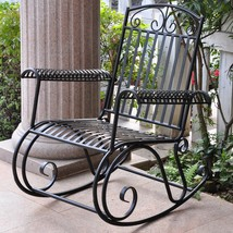 Black Iron Rocking Chair Scrollwork Porch Rocker Outdoor Furniture Exter... - $222.48