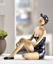 "7.28"" high Sitting Vintage Beach Girl Design Figurine Nautical Beach Navy NEW"