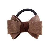 5 PCS Solid Khaki Bow Tie Style Hair Elastics Bands Hair Accessories image 2