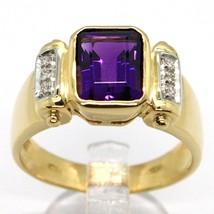 SOLID 18K YELLOW GOLD BAND RING, DIAMONDS & PURPLE AMETHYST, EMERALD CUT image 1