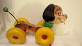 VINTAGE 1960's FISHER PRICE Basset Hound SNOOPY DOG PULL TOY Wood Vinyl - $49.45
