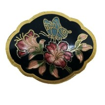 Vintage Enamel Brooch Hibiscus Flower Butterfly Gold Tone Cloisonne Cham... - $19.79