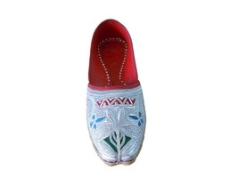 Men Shoes Mojaries Punjabi Espadrilles Handmade Silver Leather Jutti Flat US 9.5 - $39.99