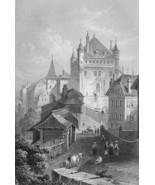 SWITZERLAND Castle of Lausanne - 1861 Engraving Antique Print - $18.36