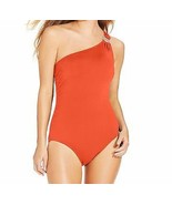 Michael Kors One Piece Sz 10 Hot Coral Swimsuit One Shoulder Maillot MM1... - $59.35