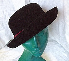 VINTAGE KANGOL LADIES BOWLER SOFT STRUCTURE BLACK HAT BURGUNDY CORD BAND... - $17.51