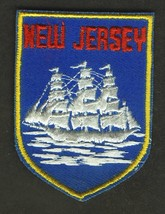 VINTAGE NEW JERSEY CLIPPER SHIP EMBROIDERED CLOTH SOUVENIR TRAVEL PATCH - $9.95