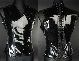 Black PVC Fetish Vest Corset Back Vegan Leather V Shape Goth Male Corset - $101.65