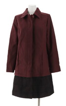 Isaac Mizrahi Melton Coat Eyelet Trim Deep Burgundy 14 NEW A259763 - $65.13