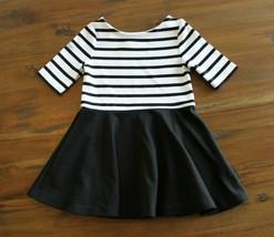 Ralph Lauren 2T White Black Striped Polished Dress Black Twirl Skirt Hol... - $22.74