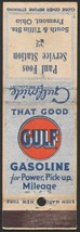 Vintage matchbook cover GULF GASOLINE oil Paul Foos Station Fremont Ohio - $8.09