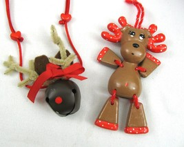 Vtg Jointed Reindeer Christmas Gingerbread Ornament + Brown Bell Necklace - $9.89