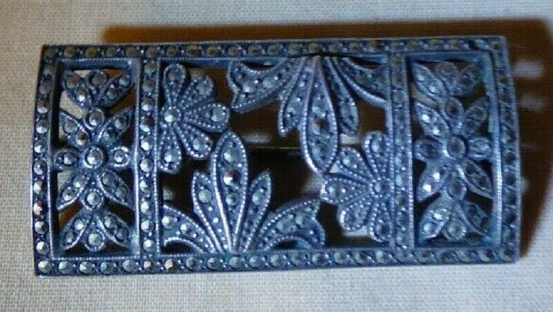 Primary image for Beautiful Vintage 1930s Sterling Silver Marcasite Bar Pin 9.4 grams