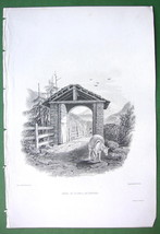 ALPS Switzerland Gate to Village St. Pierre - SCARCE 1836 Antique Print - $22.46