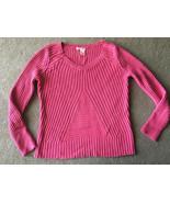 DKNY Sweater Women's Hot Pink Large L Knit Geometric Bright Long Sleeve - $8.41