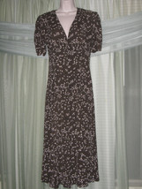 EXPRESS Womens Dress Size 9/10 M Brown White Floral Button-Down Mid-Calf... - $21.99
