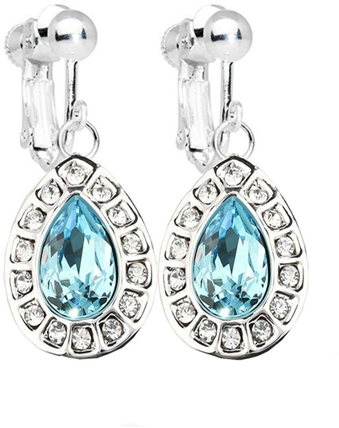 Fashion Girl Love Heart Light Blue Clip on Earrings White Gold Plated with - $48.01