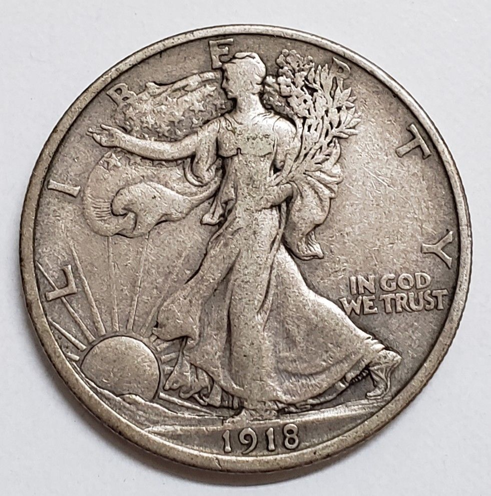 1918D Walking Liberty Half Dollar 90% Silver Coin Lot# E 70