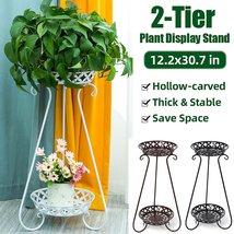2 Layers Flower Pot Rack Holder Plant Stand Metal Shelves Storage Rack D... - $109.00