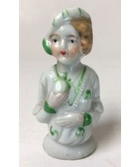 Vintage Half Doll for Pin Cushion Porcelain Woman in White Green Dress H... - $27.95