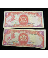 Lot of 2 Central Bank Of Trinidad And Tobago 1 Dollar Banknote Paper Money - $10.00