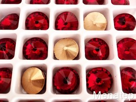 5(Five)  12 mm Rivoli Beads: Ruby - $4.10