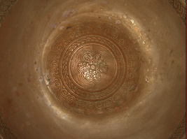 Israel Vintage Copper Bowl Tray Geometric Etched Mandala 1960's Signed Pal Bell image 3