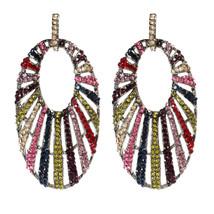 Amrita Singh Gunmetal Rainbow Crystal Halo Drop Dangle Earrings ERC 6107... - $26.24