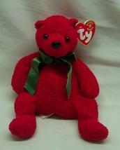 """Ty Beanie Babies 2001 Red Holiday Mistletoe Teddy Bear 7"""" Bean Bag Animal New - $19.80"""