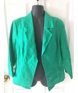 Womens Chicos Chico's Bright Green 100% Linen Lightweight Open Blazer Ja... - $29.99