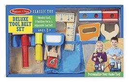 Melissa & Doug Deluxe Tool Belt Set - 5 Wooden Tools, 8 Building Pieces, Adjusta - $29.00
