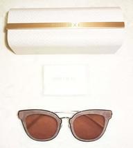 $495 Jimmy Choo 63mm Cat Eye Sunglasses Silver + Mauve Frame Pink Lens Italy NIB - $135.15