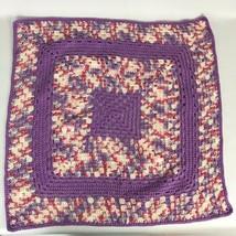 Crochet Blanket Throw Granny Squares Pink Purple 27x27 Handmade - $13.16