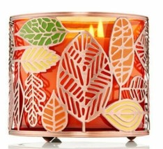 Bath & Body Works Tossed Leaves Leaf Fall Gold Large 3 Wick Candle Holder Sleeve - $17.77